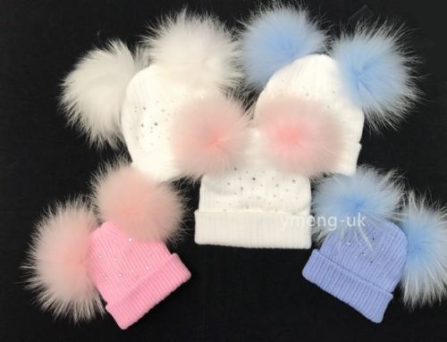 Gorgeous Baby Girl Double Fur Pom Hat with Diamante